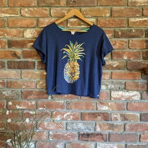 Lucky Brand Pineapple Cropped Graphic Tee